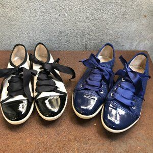 French London Sole Leather Ribbon Sneaker Trainers